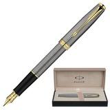 """Ручка перьевая PARKER """"Sonnet Chiselled GT"""", корпус серебристо-черный, серебро, позолоченные детали, черная, S0808140"""