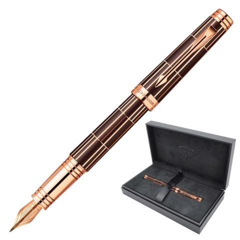 """Ручка перьевая PARKER """"Premier Luxury Brown PGT,"""" корпус коричневый, латунь, позолоченные детали, 01876376, черная"""