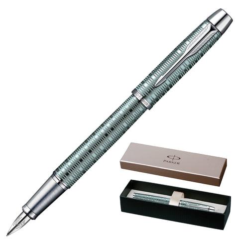 """Ручка перьевая PARKER """"IM Premium Vacumatic CT"""", корпус изумрудно-жемчужный, алюминий, хромированные детали, 1906731, синяя"""