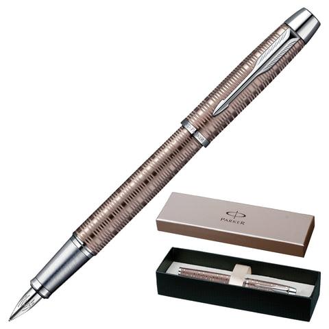 """Ручка перьевая PARKER """"IM Premium Vacumatic CT"""", корпус коричневый, алюминий, хромированные детали, 1906777, синяя"""