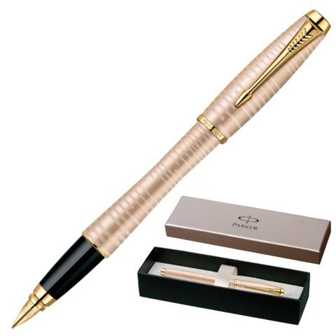 """Ручка перьевая PARKER """"Urban Premium Vacumatic"""", корпус жемчужно-золотой, алюминий, позолоченные детали, 1906852, синяя"""