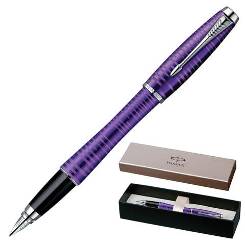 """Ручка перьевая PARKER """"Urban Premium Vacumatic"""", корпус фиолетовый, алюминий, хромированные детали, 1906860, синяя"""