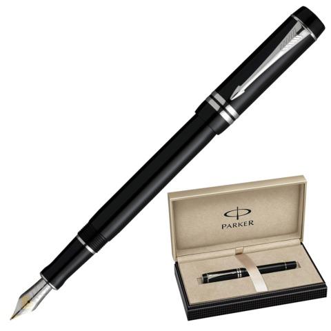 """Ручка перьевая PARKER """"Duofold Black PT"""", корпус черный, акрил, платиновое покрытие деталей, S0690560, черная"""