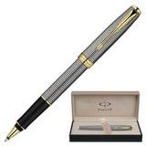 """Ручка-роллер PARKER """"Sonnet Chiselled GT"""", корпус серебристо-черный, серебро, позолоченные детали, черная, S0808160"""