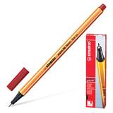 """Ручка капиллярная STABILO """"Point"""", корпус оранжевый, толщина письма 0,4 мм, темно-красная, 88/50"""