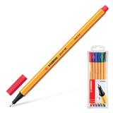 """Ручки капиллярные STABILO, набор 6 шт., """"Point"""", 0,4 мм (голубая, красная, синяя, черная, фиолетовая, сиреневая), 88/6"""