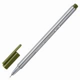 Ручка капиллярная STAEDTLER (Германия), трехгранная, толщина письма 0,3 мм, оливковая, 334-57