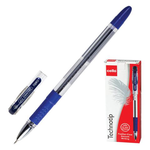"""Ручка шариковая масляная CELLO """"Technotip"""", корпус прозрачный, толщина письма 0,6 мм, резиновый держатель, синяя, 305228020/к"""