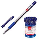 """Ручка шариковая масляная CELLO """"Slimo Grip"""", корпус прозрачный, узел 0,7 мм, линия 0,5 мм, синяя, 305092020"""