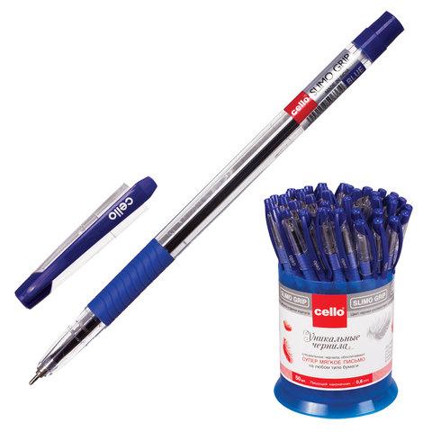 """Ручка шариковая масляная CELLO """"Slimo Grip"""", корпус прозрачный, толщина письма 0,7 мм, резиновый держатель, синяя, 305092020"""