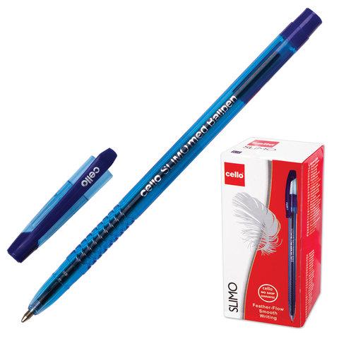 """Ручка шариковая масляная CELLO """"Slimo"""", корпус синий тонированный, толщина письма 1 мм, синяя, 305089020"""
