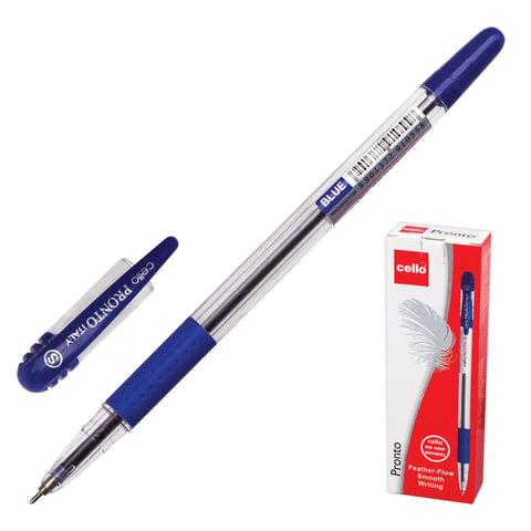 """Ручка шариковая масляная CELLO """"Pronto"""", корпус прозрачный, толщина письма 0,6 мм, резиновый держатель, синяя, 305227020/к"""