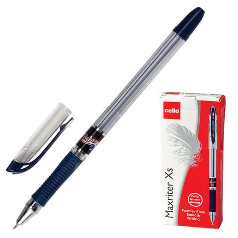 """Ручка шариковая масляная CELLO """"Maxriter XS"""", корпус прозрачный, толщина письма 0,7 мм, резиновый держатель, синяя, 305229320/к"""