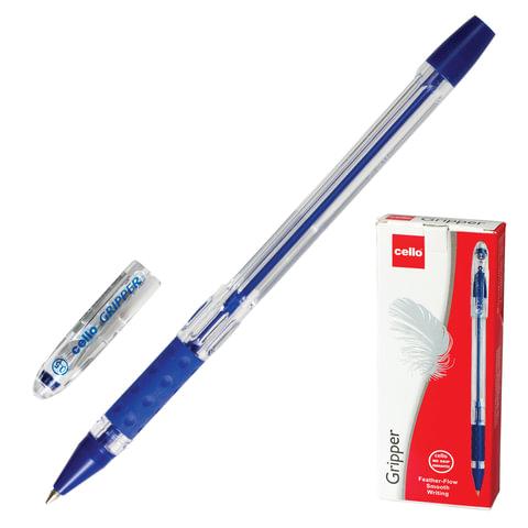 """Ручка шариковая масляная CELLO """"Gripper"""", корпус прозрачный, толщина письма 0,5 мм, резиновый держатель, синяя, 305226020/к"""