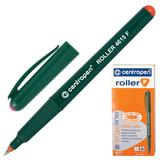 Ручка-роллер CENTROPEN, трехгранная, корпус зеленый, узел 0,5 мм, линия 0,3 мм, красная, 4615/1К