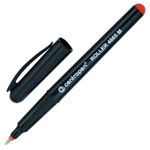 Ручка-роллер CENTROPEN, трехгранная, корпус черный, толщина письма 0,6 мм, красная, 4665/1К