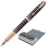 """Ручка перьевая PARKER """"Sonnet Brown Rubber PGT"""", корпус коричневая смола, нержавеющая сталь, позолоченные детали, черная, 1931480"""