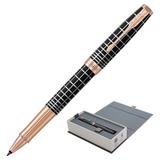 """Ручка-роллер PARKER """"Sonnet Brown Rubber PGT"""", корпус коричневый смола, нержавеющая сталь, позолоченные детали, черная, 1931482"""