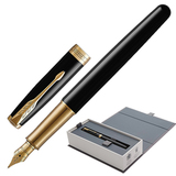 """Ручка перьевая PARKER """"Sonnet Lacquer GT"""", корпус черный лак, латунь, позолоченные детали, черная, 1931527"""