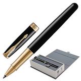 """Ручка-роллер PARKER """"Sonnet Lacquer GT"""", корпус черный лак, латунь, позолоченные детали, черная, 1948080"""