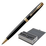 """Ручка шариковая PARKER """"Sonnet Core Lacquer Black GT"""", корпус черный глянцевый лак, позолоченные детали, черная, 1931497"""