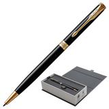 """Ручка шариковая PARKER """"Sonnet Core Lacquer Black GT Slim"""", тонкая, корпус черный глянцевый лак, позолоченные детали, черная, 1931498"""