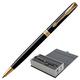"""Ручка шариковая PARKER """"Sonnet Lacquer Slim GT"""", тонкий корпус, черный лак, латунь, позолоченные детали, 1931498, черная"""
