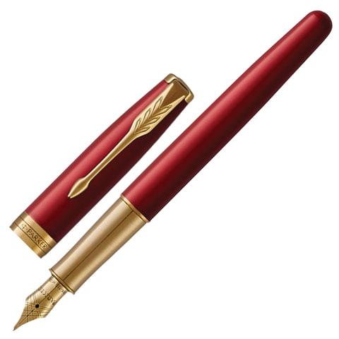 """Ручка перьевая PARKER """"Sonnet Lacquer GT"""", корпус красный лак, нержавеющая сталь, позолоченные детали, 1931478, черная"""