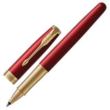 """Ручка-роллер PARKER """"Sonnet Core Intense Red Lacquer GT"""", корпус красный глянцевый лак, позолоченные детали, черная, 1948085"""