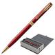"""Ручка шариковая PARKER """"Sonnet Lacquer Slim GT"""", тонкий корпус, красный лак, сталь, позолоченные детали, 1931477, черная"""