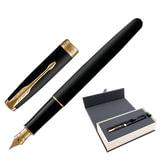 """Ручка перьевая PARKER """"Sonnet Core Matt Black GT"""", корпус черный матовый лак, позолоченные детали, черная, 1931516"""