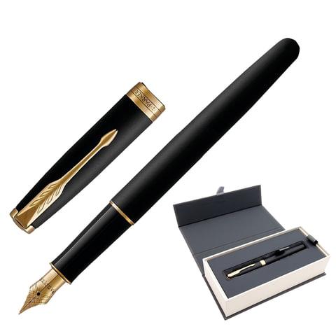 """Ручка перьевая PARKER """"Sonnet GT"""", корпус черный лак, латунь, позолоченные детали, 1931516, черная"""