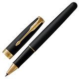 """Ручка-роллер PARKER """"Sonnet Core Matt Black GT"""", корпус черный матовый лак, позолоченные детали, черная, 1931518"""