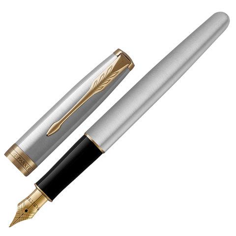 """Ручка перьевая PARKER """"Sonnet Stainless Steel GT"""", корпус серебристый, нержавеющая сталь, позолоченные детали, 1931504, черная"""