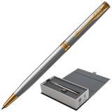"""Ручка шариковая PARKER """"Sonnet Core Stainless Steel GT Slim"""", тонкая, корпус серебристый, позолоченные детали, черная, 1931508"""