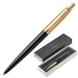 """Ручка подарочная шариковая PARKER """"Jotter Premium Bond Street Black GT"""", черный корпус, позолоченные детали, синяя, 1953202"""
