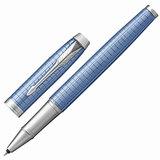 """Ручка-роллер PARKER """"IM Premium Blue CT"""", голубой анодированный алюминий с гравировкой, хромированные детали, черная, 1931690"""