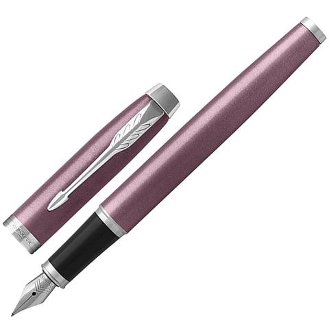 """Ручка перьевая PARKER """"IM Core Light Purple CT"""", корпус светло-пурпурный с круговой полировкой, латунь, лак, хром, 1931632, синяя"""