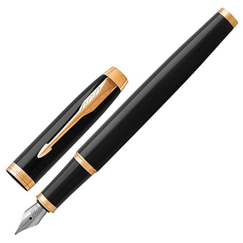 """Ручка перьевая PARKER """"IM Core Black Lacquer GT"""", корпус черный, латунь, лак, позолоченные детали, 1931645, синяя"""