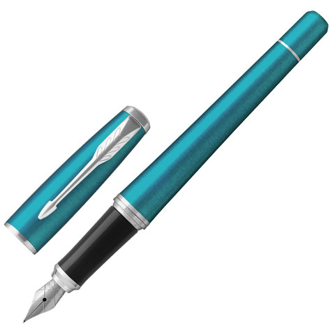 """Ручка перьевая PARKER """"Urban Core Vibrant Blue CT"""", корпус изумрудный глянцевый лак, хромированное покрытие деталей, 1931594,синяя"""