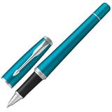 """Ручка-роллер PARKER """"Urban Core Vibrant Blue CT"""", изумрудный глянцевый лак, латунь, хромированные детали, черная, 1931585"""