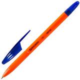 """Ручка шариковая масляная BRAUBERG """"X-100"""", СИНЯЯ, корпус оранжевый, узел 1 мм, линия письма 0,7 мм, 142678"""