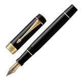 """Ручка перьевая PARKER """"Duofold Classic Centennial Black GT"""", корпус черный, позолоченные детали, черная, 1931381"""