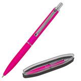 """Ручка подарочная шариковая BRAUBERG """"Bolero"""", СИНЯЯ, корпус розовый с хромированными деталями, линия письма 0,5 мм, 143461"""