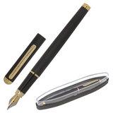 Ручка подарочная перьевая BRAUBERG Maestro, СИНЯЯ, корпус черный с золотистыми деталями, линия письма 0,25 мм, 143471