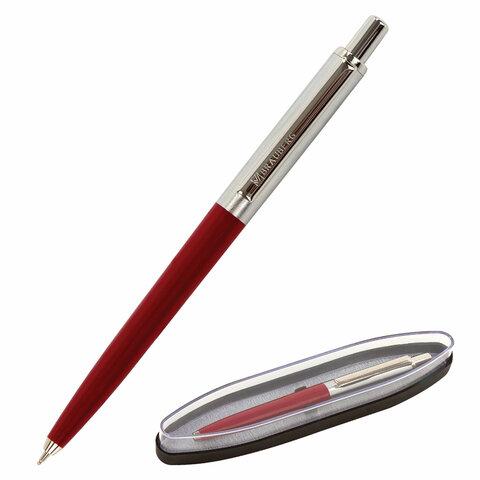 Ручка подарочная шариковая BRAUBERG Soprano, СИНЯЯ, корпус серебристый с бордовым, 0,5мм, 143485