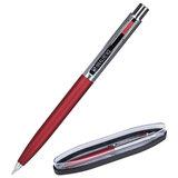 """Ручка подарочная шариковая BRAUBERG """"Cornetto"""", СИНЯЯ, корпус серебристый с бордовым, линия письма 0,5 мм, 143492"""