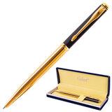 """Ручка подарочная шариковая GALANT """"ARROW GOLD"""", корпус черный/золотистый, детали золотистые, узел 0,7 мм, синяя, 143523"""