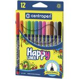 """Ручки капиллярные (линеры) 12 ЦВЕТОВ CENTROPEN """"Happy Liner"""", линия письма 0,3 мм, 2521/12, 2 2521 1202"""
