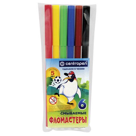 """Фломастеры CENTROPEN, 6 цветов, """"Пингвины"""", смываемые, вентилируемый колпачок, полибег, 7790/6"""